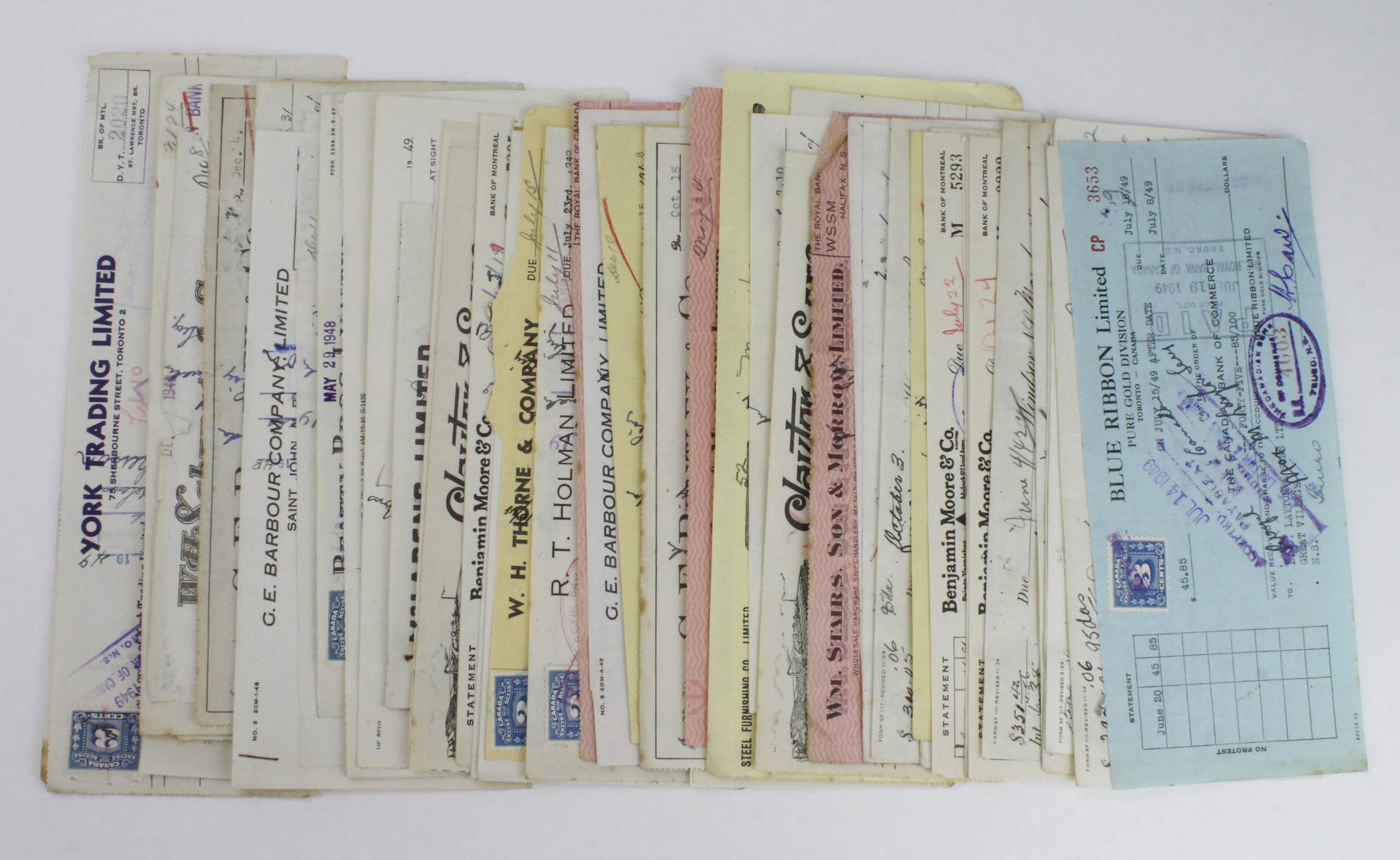Canada Cheques (61) a nice collection of cheques, mostly 1940's, an interesting group