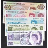 St. Helena (5), 20 Pounds issued 1986, 10 Pounds issued 1985, 5 Pounds issued 1981, 1 Pound issued