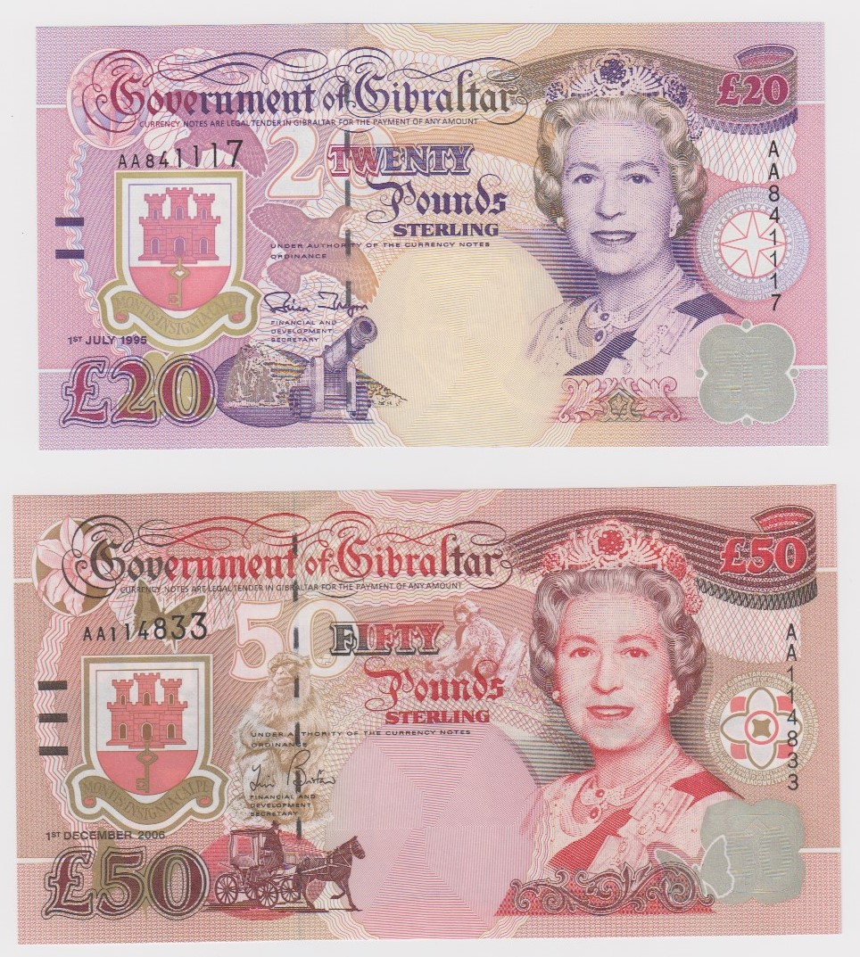 Gibraltar (2), 50 Pounds dated 1st December 2006 serial AA114833 (TBB B126b, Pick34a), 20 Pounds