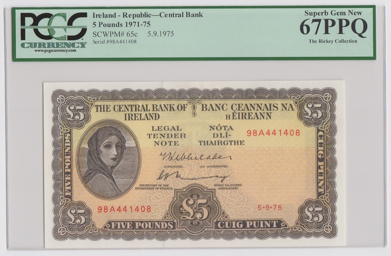 Ireland Republic 5 Pounds dated 5th September 1975, Lady Lavery portrait at left, signed