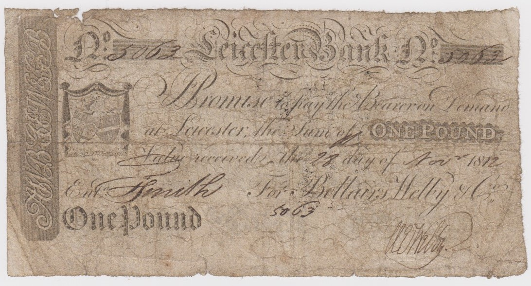 Leicester Bank 1 Pound dated 1812 last date of issue, No. 5063 for Bellairs, Welby & Co. (Outing