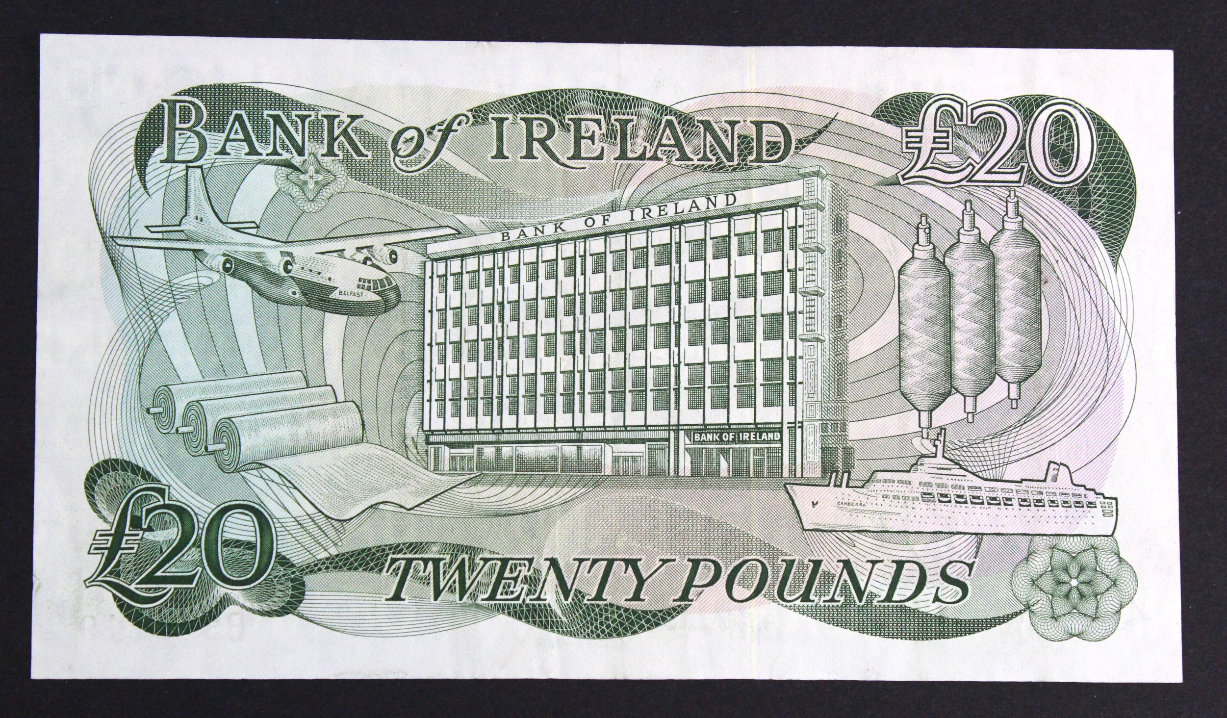 Northern Ireland, Bank of Ireland 20 Pounds issued 1980's (1985), signed D.J. Harrison, serial - Image 2 of 2