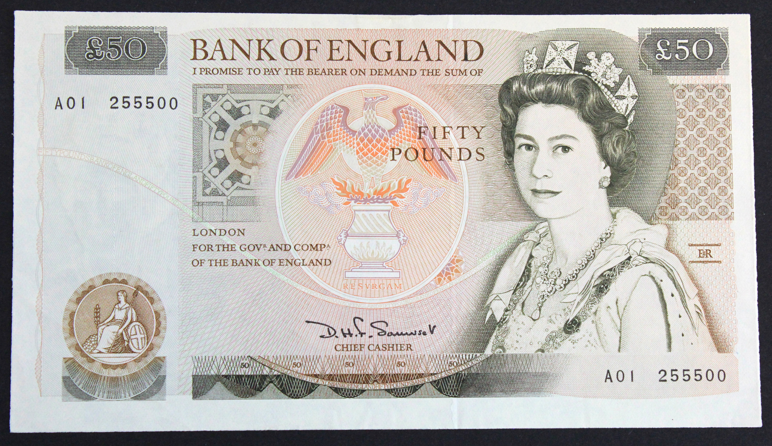 Somerset 50 Pounds issued 1981, FIRST RUN serial A01 255500 (B352, Pick381a) EF