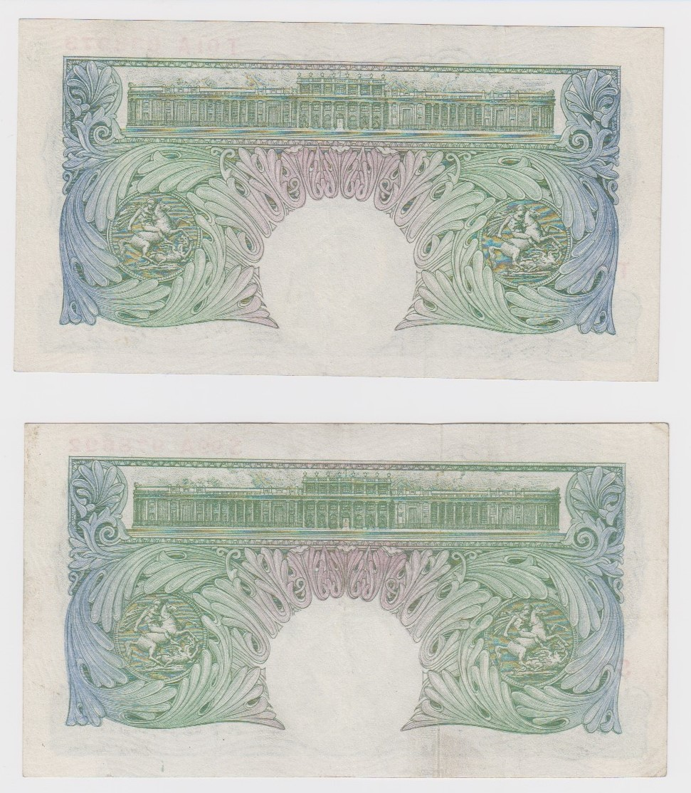Peppiatt 1 Pound issued 1948 (2), LAST PREFIX '99' of FIRST SERIES of the issue with security - Image 2 of 2