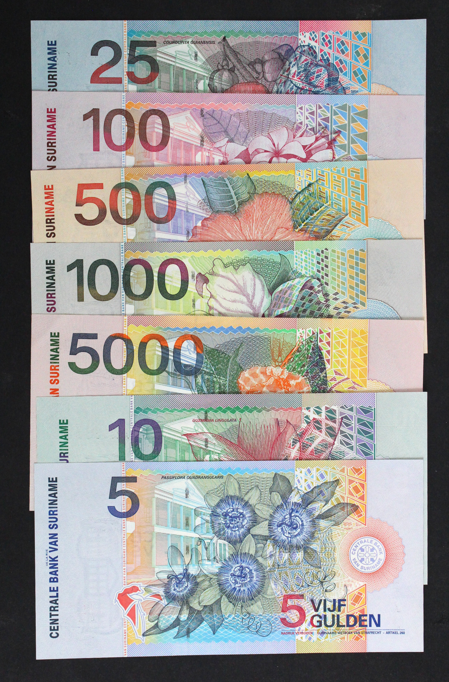 Suriname (7) 5000, 1000, 500, 100, 25, 10 & 5 Gulden dated 1st January 2000 (TBB B531 - B537,