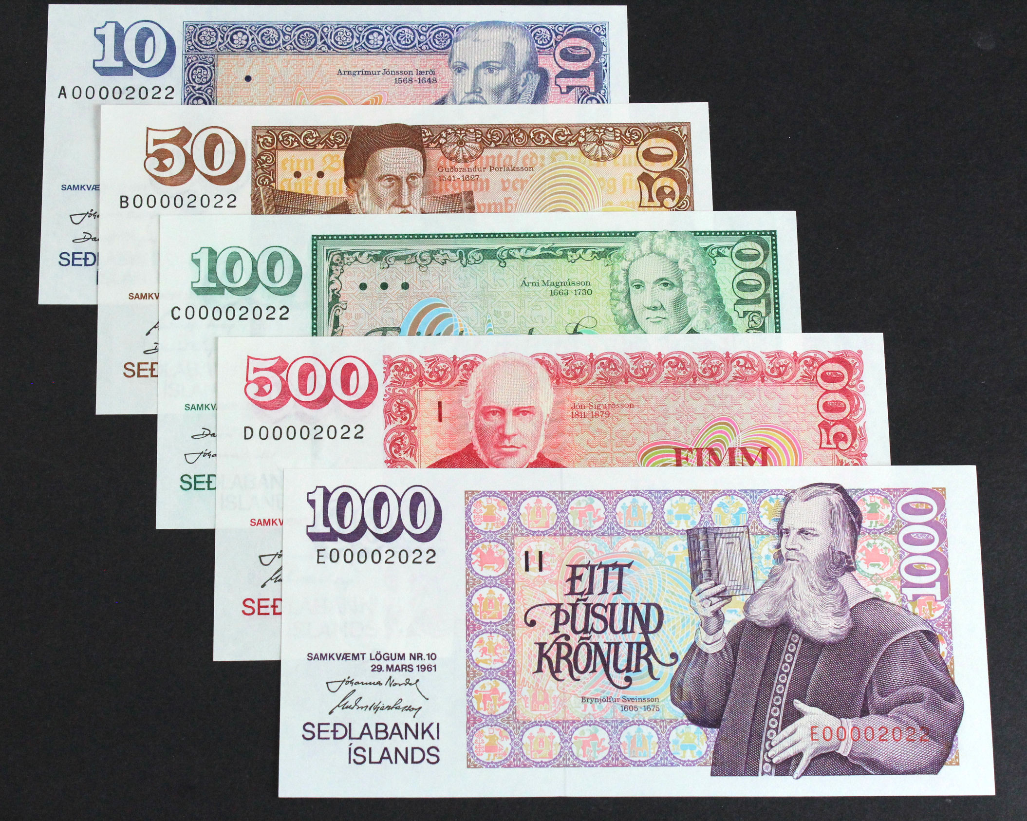 Iceland (5), 1000 Kronur, 500 Kronur, 100 Kronur, 50 Kronur and 10 Kronur, dated 29 March 1961