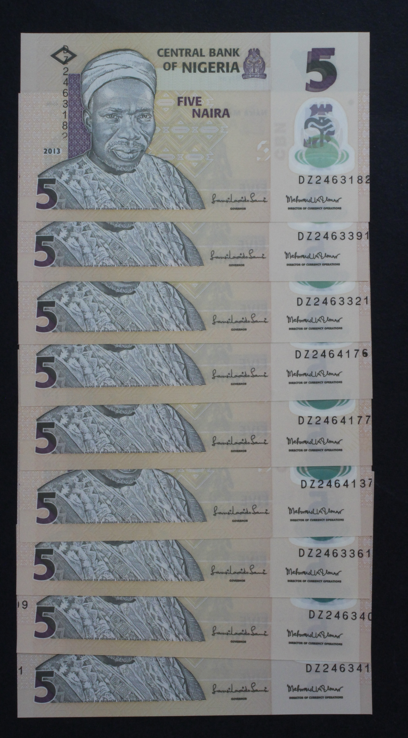 Nigeria (9), 5 Naira ERROR dated 2013, an unusual REPLACEMENT 'DZ' prefix error with the both serial