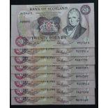 Scotland, Bank of Scotland 20 Pounds (8) dated 1st July 1991, signed Pattullo & Burt (PMS BA119,