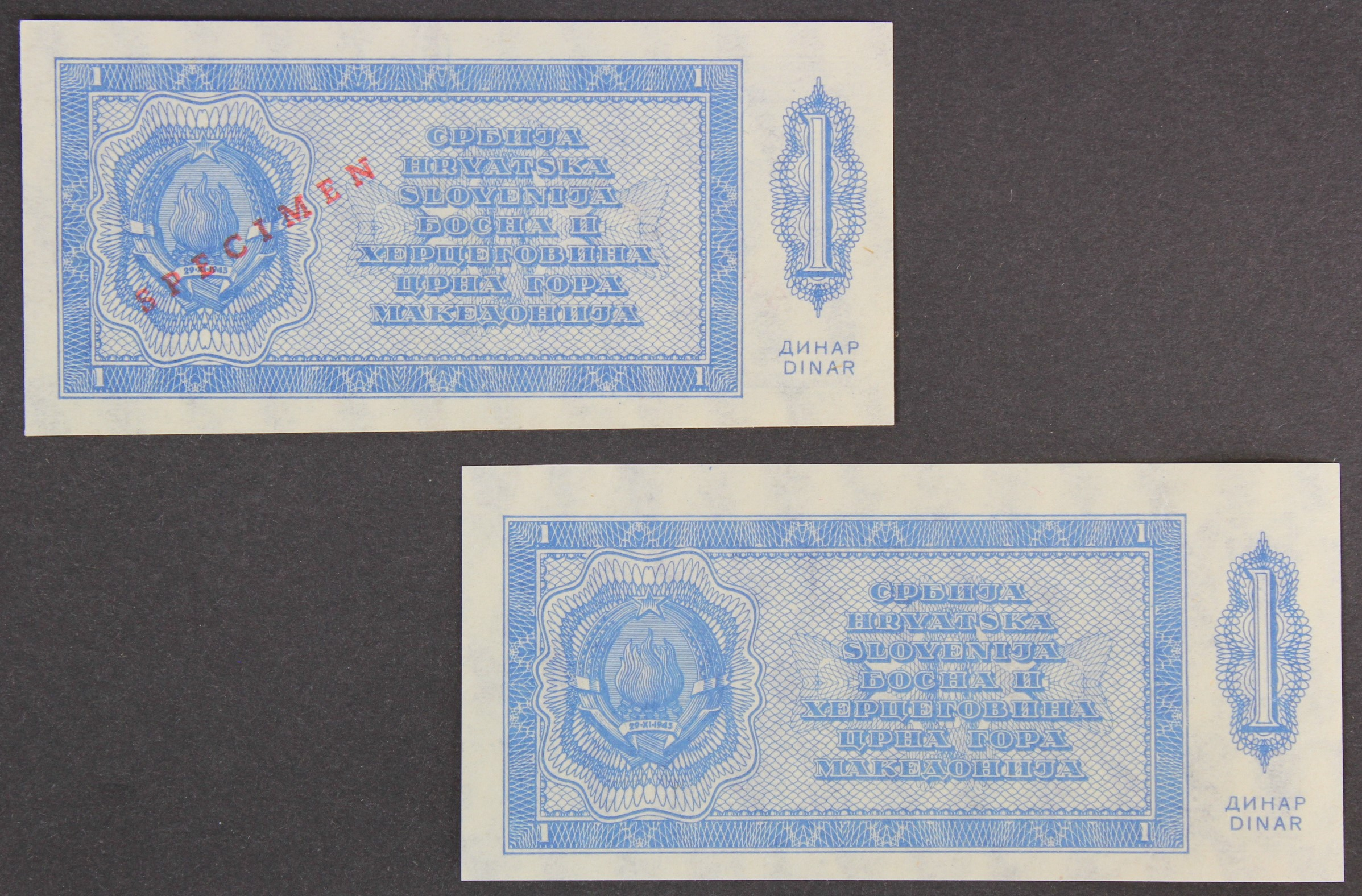 Yugoslavia (2), 1 Dinara dated 1950, a SPECIMEN note and an unissued note without serial numbers ( - Image 2 of 2