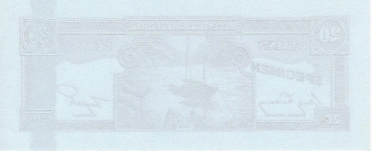 China 20 Cents dated 1946 (ca.1980's), Uniface SPECIMEN of reverse with sampans at anchor, printed - Image 2 of 2