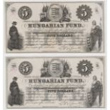 Hungary 5 Dollars (2) dated 2nd February 1852, Hungarian Revolutionary Fund New York, serial