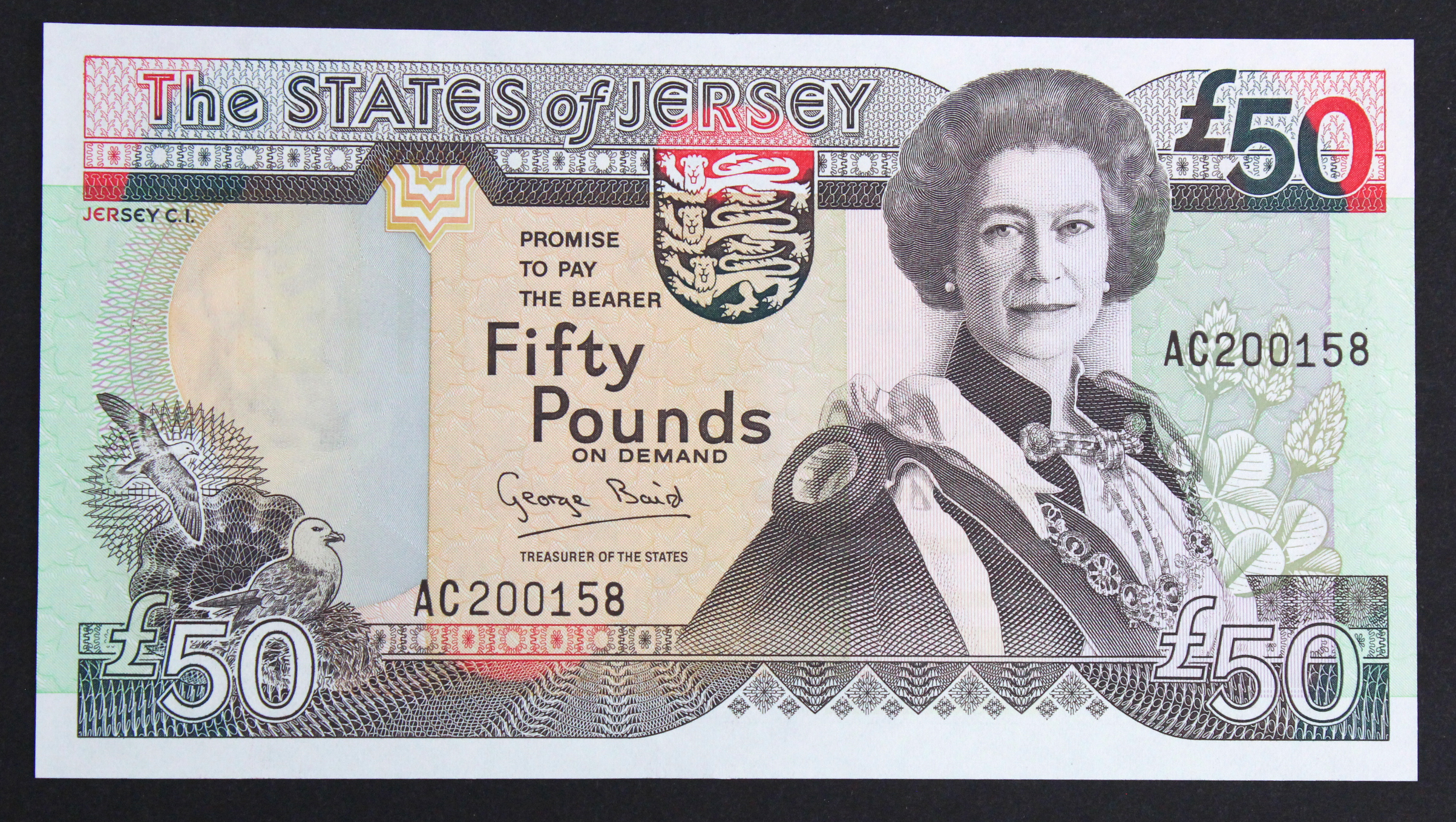 Jersey 50 Pounds issued 1993, signed George Baird, serial AC200158 (TBB B124a, Pick24a)