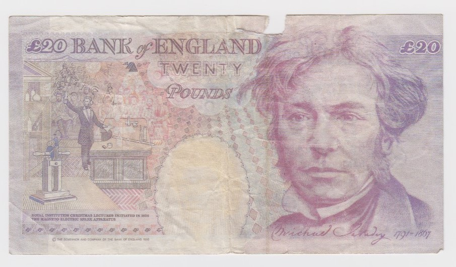 Kentfield 20 Pounds FORGERY, serial number X30 094174 (B374 for type) piece missing in top border, - Image 2 of 2