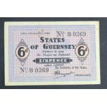 Guernsey 6 Pence dated 16th October 1941, German Occupation issue during WW2, serial B0369 (TBB
