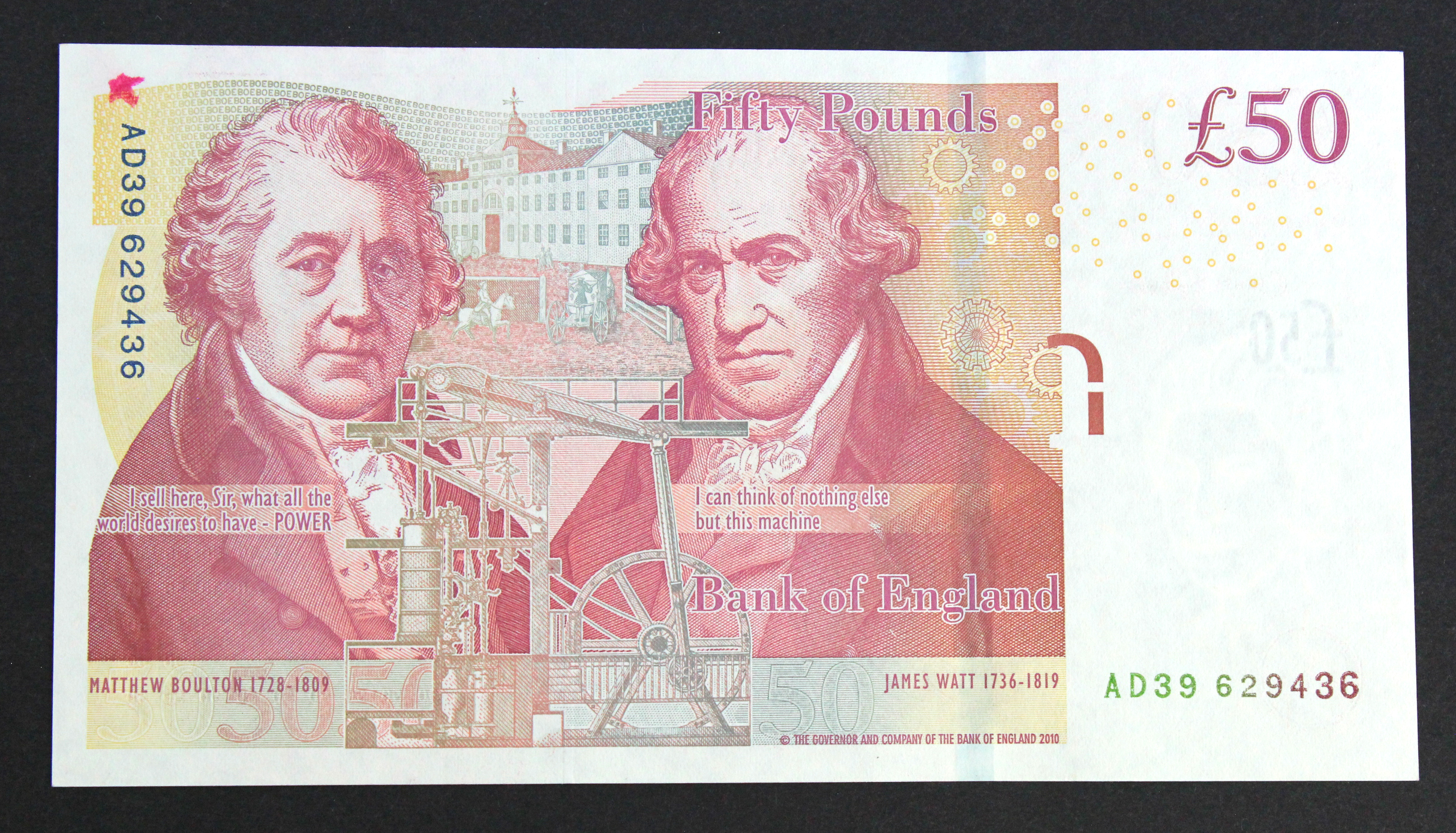 ERROR Salmon 50 Pounds issued 2011, extra ink at top left on reverse, serial AD39 629436 (B410,