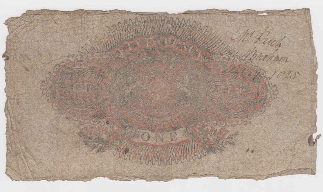 Sheerness Bank 1 Pound dated 19th July 1824, serial No. 6619 for Edward Bishop (Outing1924a) limp, - Image 2 of 2
