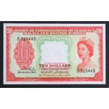Malaya & British Borneo 10 Dollars dated 21st March 1953, serial A/71 315443 (TBB B103a, Pick3a)