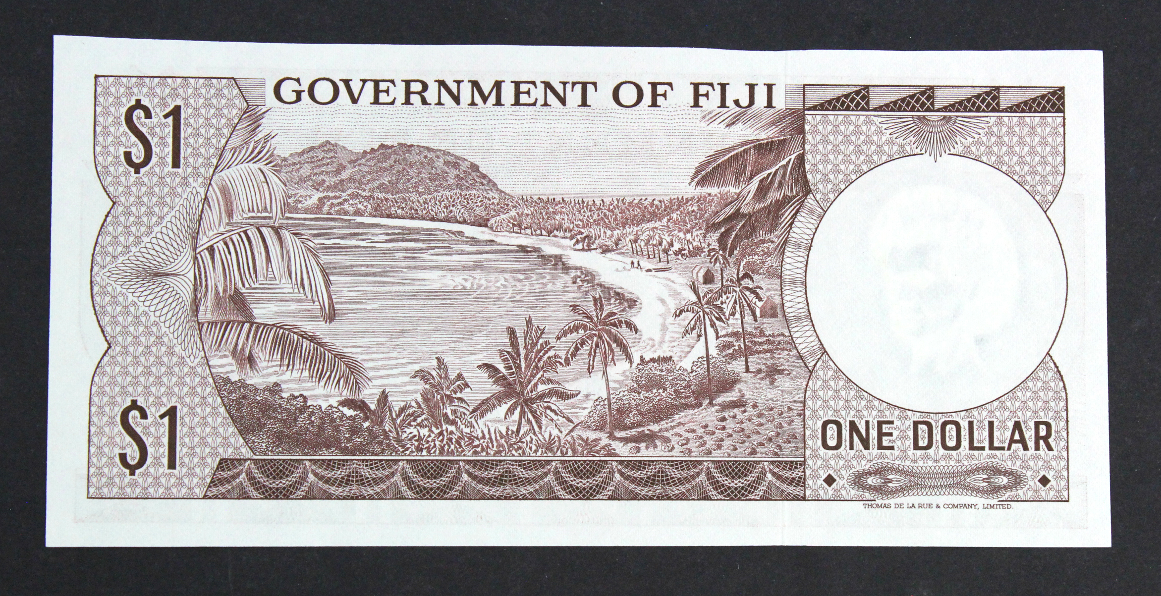 Fiji 1 Dollar issued 1969, signed Ritchie & Barnes, serial A/2 289025 (TBB B336a, Pick59a) - Image 2 of 2