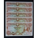 Cyprus 500 Mils (5) dated 1st June 1982, a consecutively numbered run of 5 notes, serial B927788 -