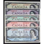 Canada (5), a group of Queen Elizabeth II notes, 20 Dollars, 10 Dollars, 5 Dollars, 2 Dollars and