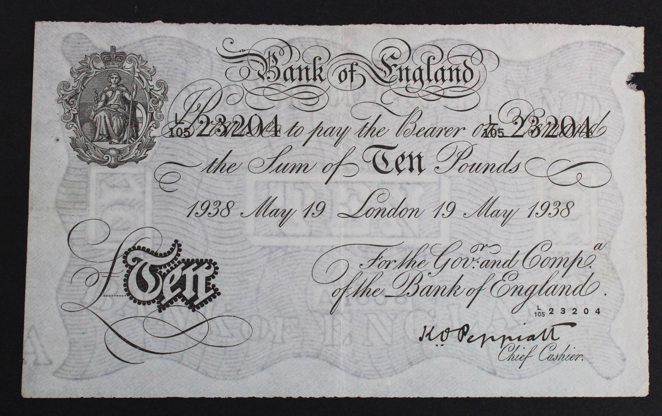 Peppiatt 10 Pounds BERNHARD note dated 19th May 1938, serial L/105 23204 (B242 for type) WW2