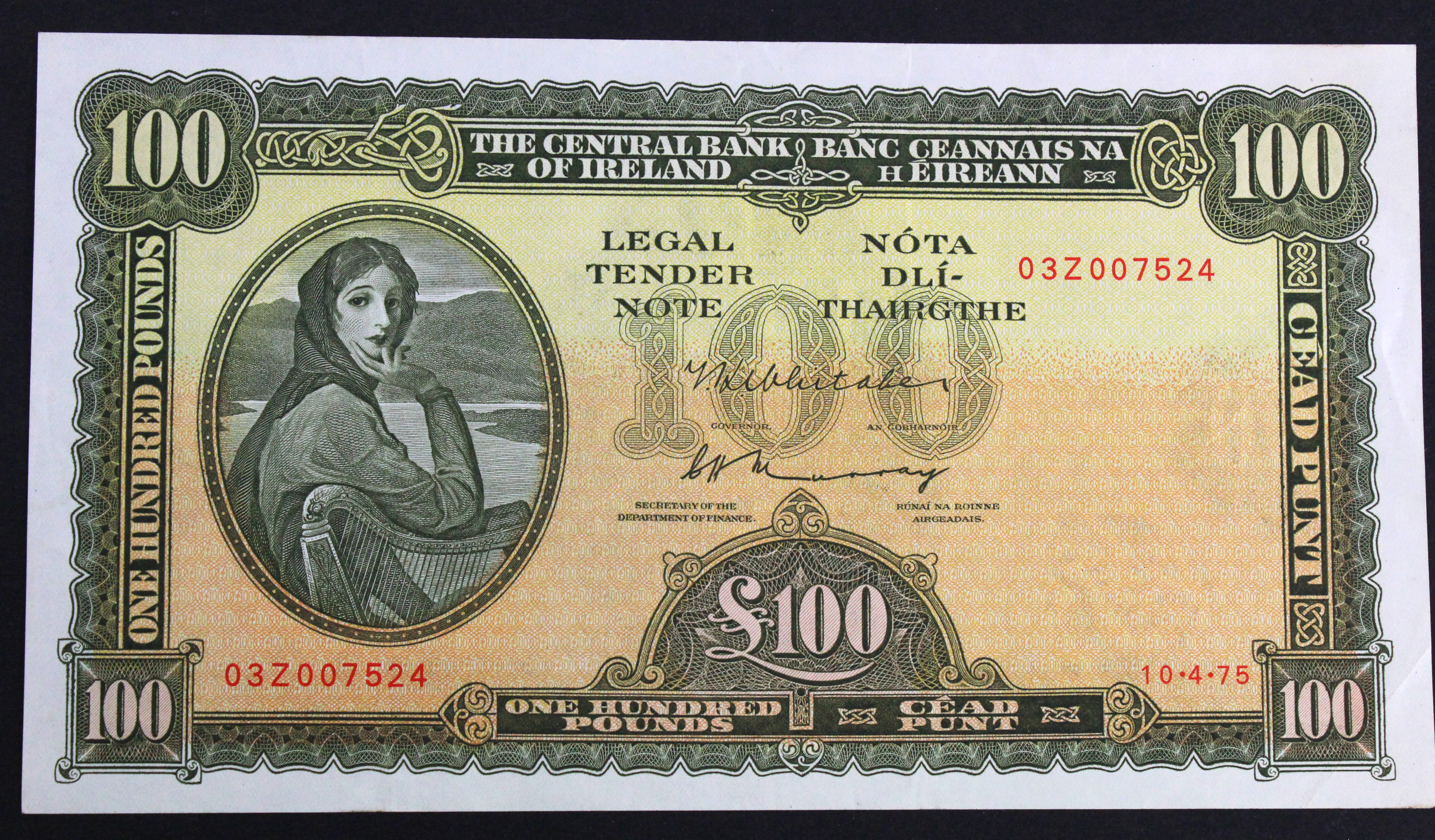 Ireland Republic 100 Pounds dated 10th April 1975, Lady Lavery portrait at left, signed Whitaker &