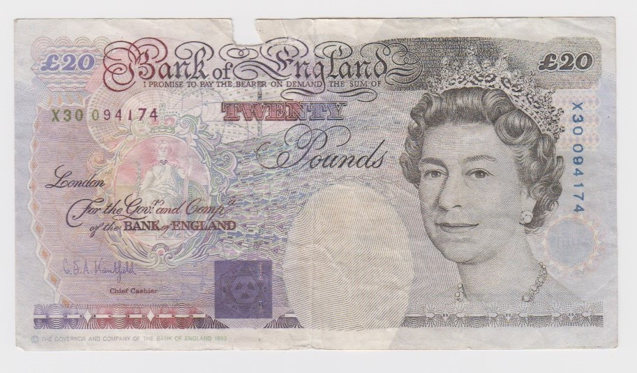 Kentfield 20 Pounds FORGERY, serial number X30 094174 (B374 for type) piece missing in top border,