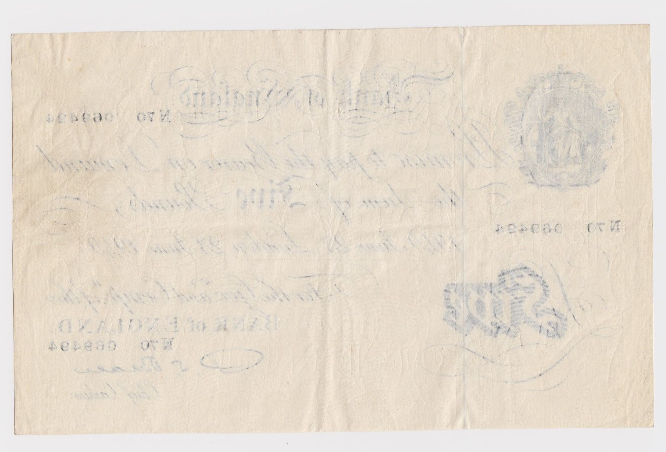 Beale 5 Pounds dated 23rd June 1949, serial N70 069494 (B270, Pick344) VF - Image 2 of 2