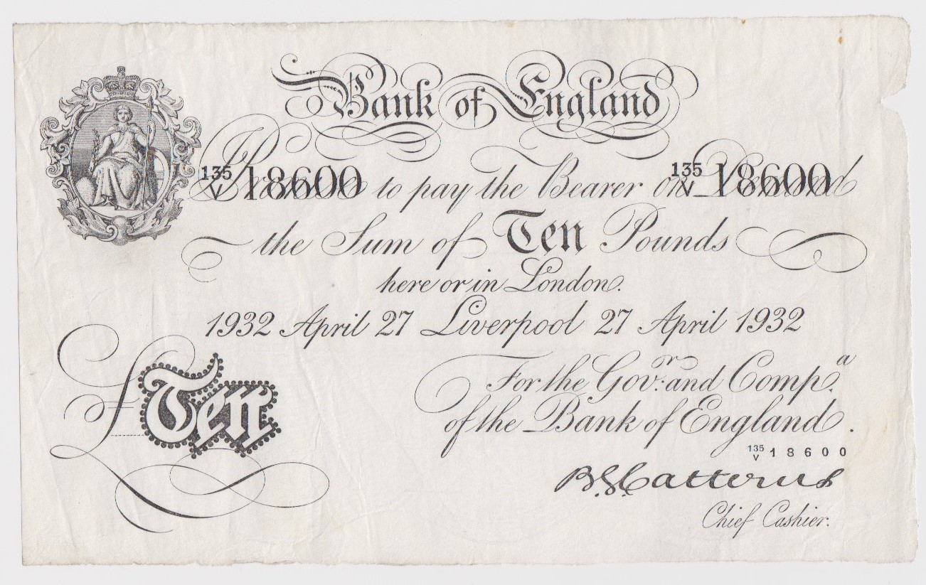Catterns 10 Pounds dated 27th April 1932, very rare LIVERPOOL branch note, serial 135/V 18600 (