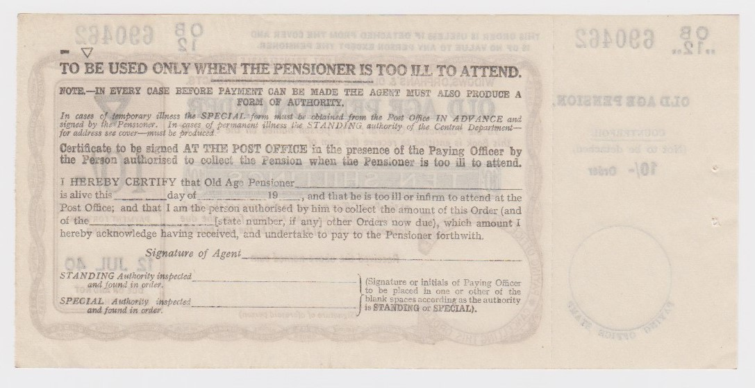 Old Age Pension Postal Order dated 12th July 1940 for 10 Shillings, complete with counterfoil, light - Image 2 of 2