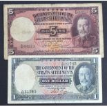 Straits Settlements (2), 5 Dollars and 1 Dollar dated 1st January 1935, portrait King George V at