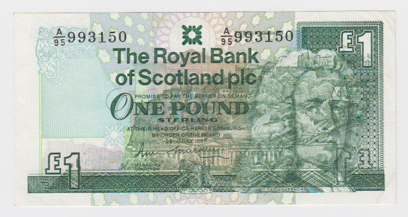 Scotland ERROR 1 Pound dated 26th July 1989, a very rare print error on this Royal Bank of