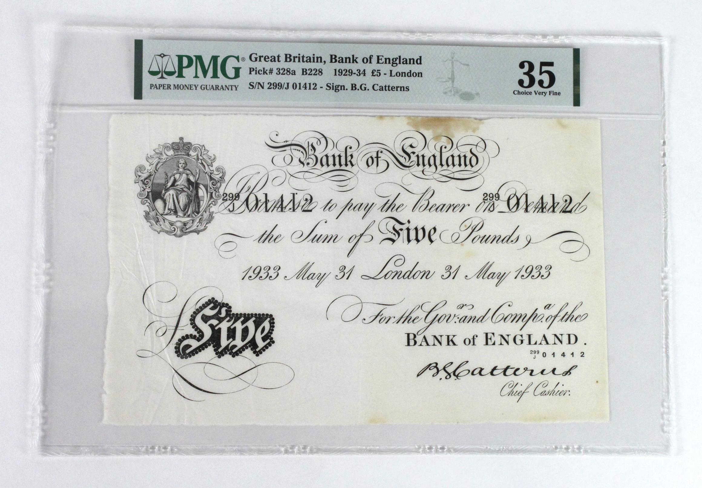 Catterns 5 Pounds dated 31st May 1933, serial 299/J 01412, London issue, a consecutively numbered