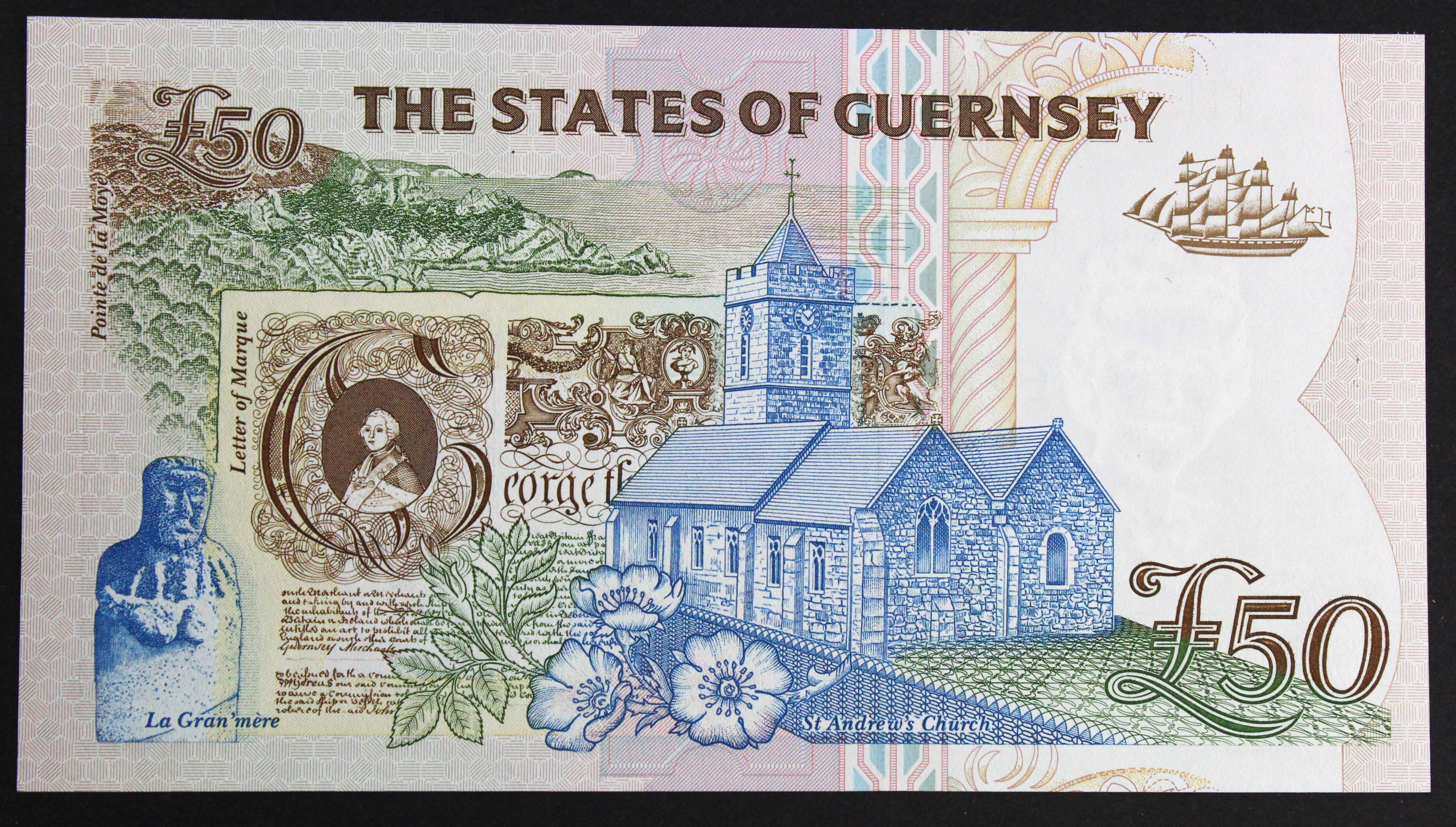 Guernsey 50 Pounds issued 1994, signed D.P. Trestain, serial A036731 (TBB B164a, Pick59) - Image 2 of 2