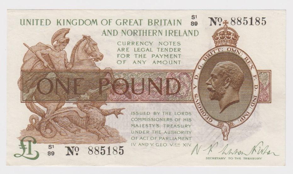 Warren Fisher 1 Pound issued 1927, FIRST SERIES 'S1' prefix, serial S1/89 885185, Great Britain &