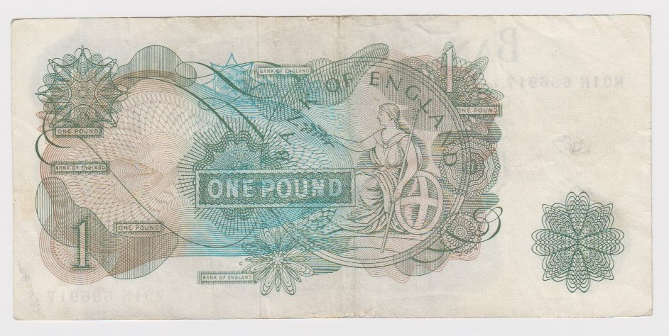 Hollom 1 Pound issued 1963, very rare FIRST RUN REPLACEMENT note, serial M01N 686917 (B293, - Image 2 of 2