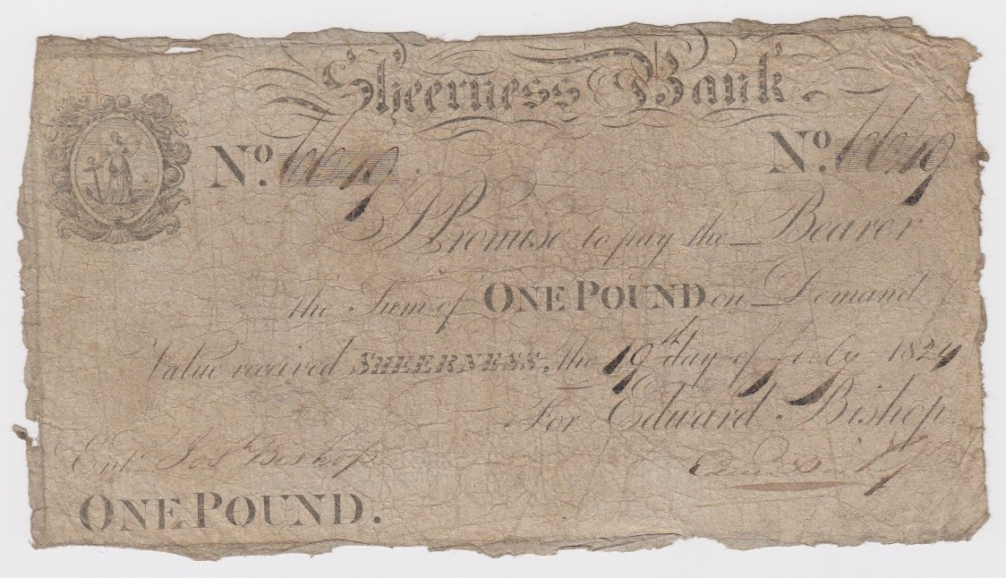Sheerness Bank 1 Pound dated 19th July 1824, serial No. 6619 for Edward Bishop (Outing1924a) limp,