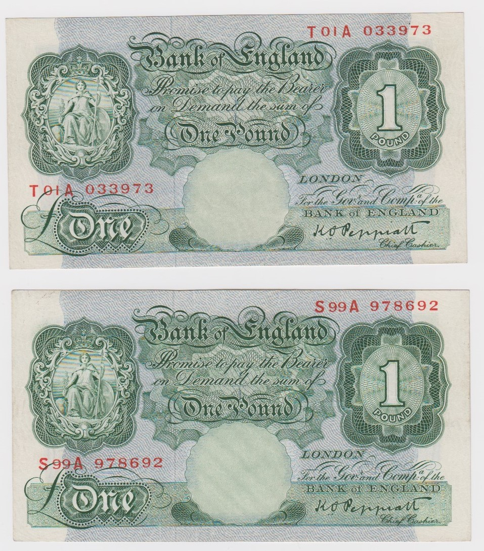 Peppiatt 1 Pound issued 1948 (2), LAST PREFIX '99' of FIRST SERIES of the issue with security