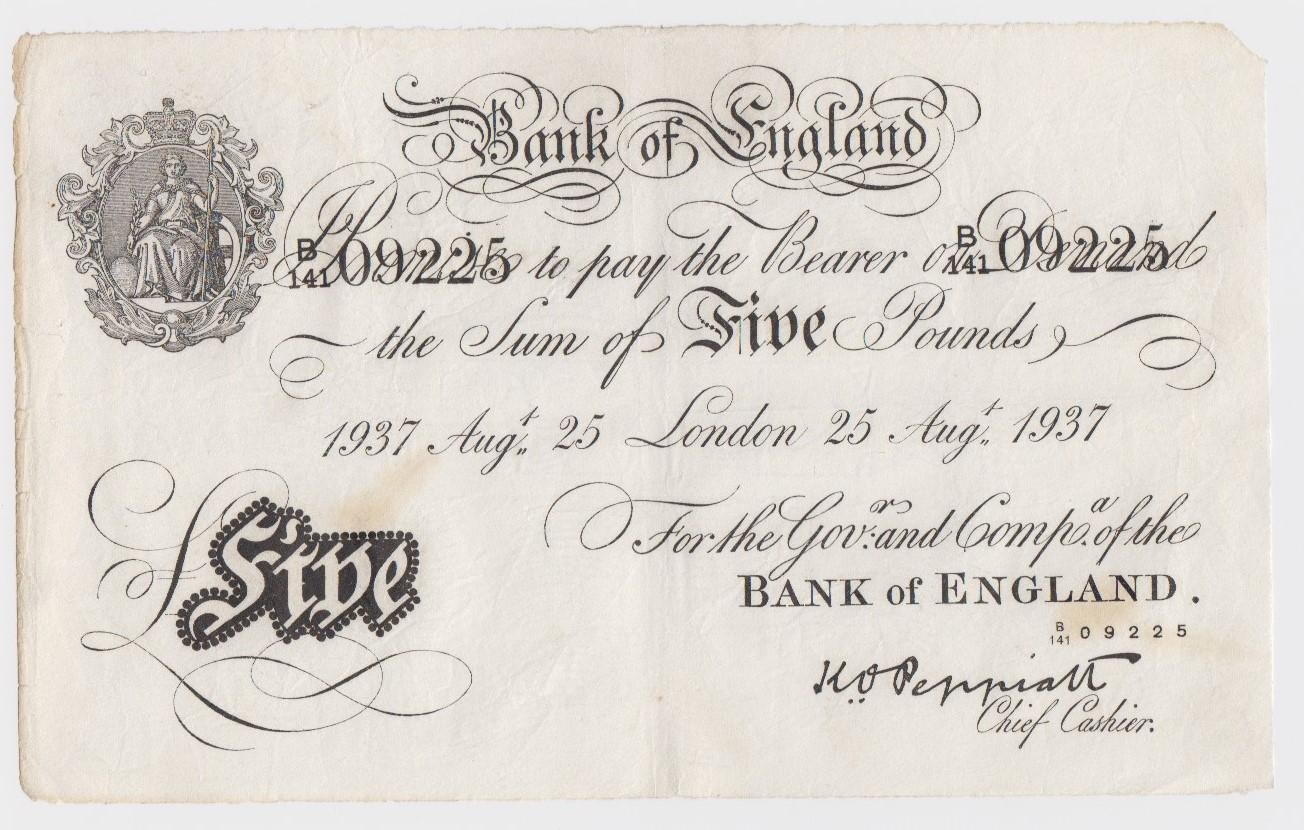 Peppiatt BERNHARD note, 5 Pounds dated 25th August 1937, serial B/141 09225 (B241 for type)