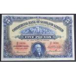 Scotland, Commercial Bank 5 Pounds dated 1st Decemeber 1944, signed James Thomson & John Erskine,