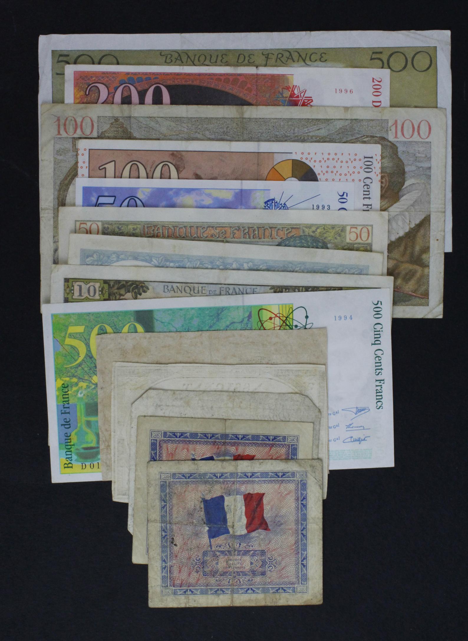 France (14), a small group including 3 x Assignats, 10 Francs and 50 Francs 1941, 500 Francs - Image 2 of 2