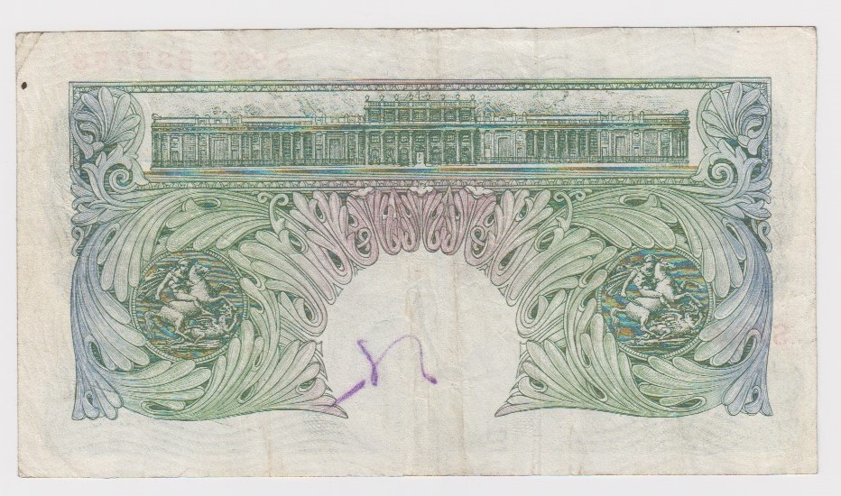 O'Brien 1 Pound issued 1950, scarce LAST RUN REPLACEMENT note 'S99S' prefix, serial S99S 535458 ( - Image 2 of 2