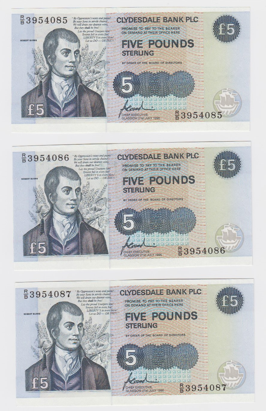 Scotland, Clydesdale Bank 5 Pounds (3) dated 21st July 1996, a consecutively numbered run