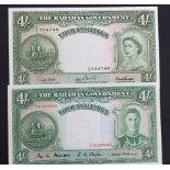 Bahamas (2), 4 Shillings issued 1953 (1961), portrait Queen Elizabeth II at right, serial A/5 234748