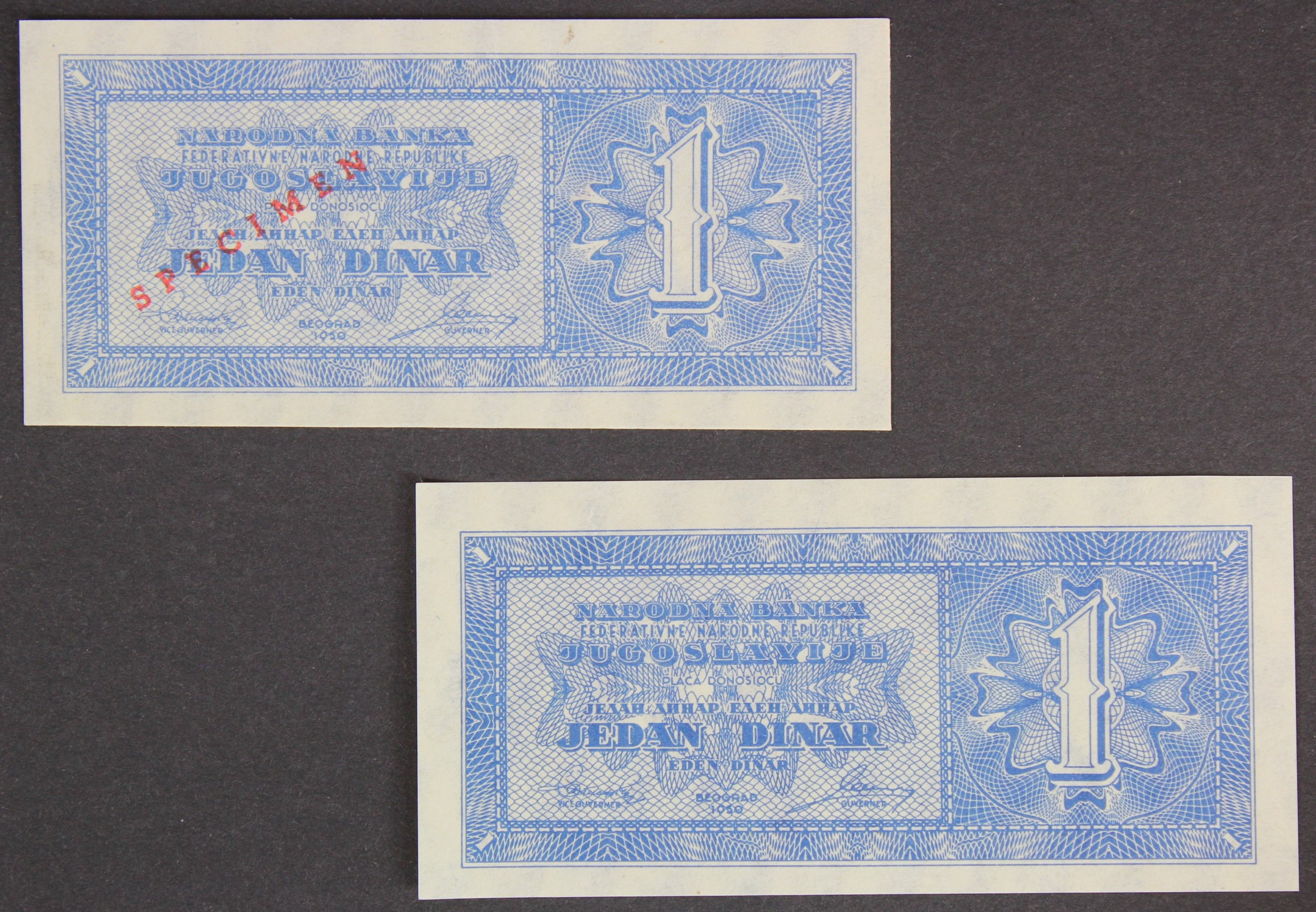 Yugoslavia (2), 1 Dinara dated 1950, a SPECIMEN note and an unissued note without serial numbers (