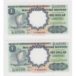 Malaya & British Borneo (2), 1 Dollar dated 1st March 1959, a consecutively numbered pair serial C/