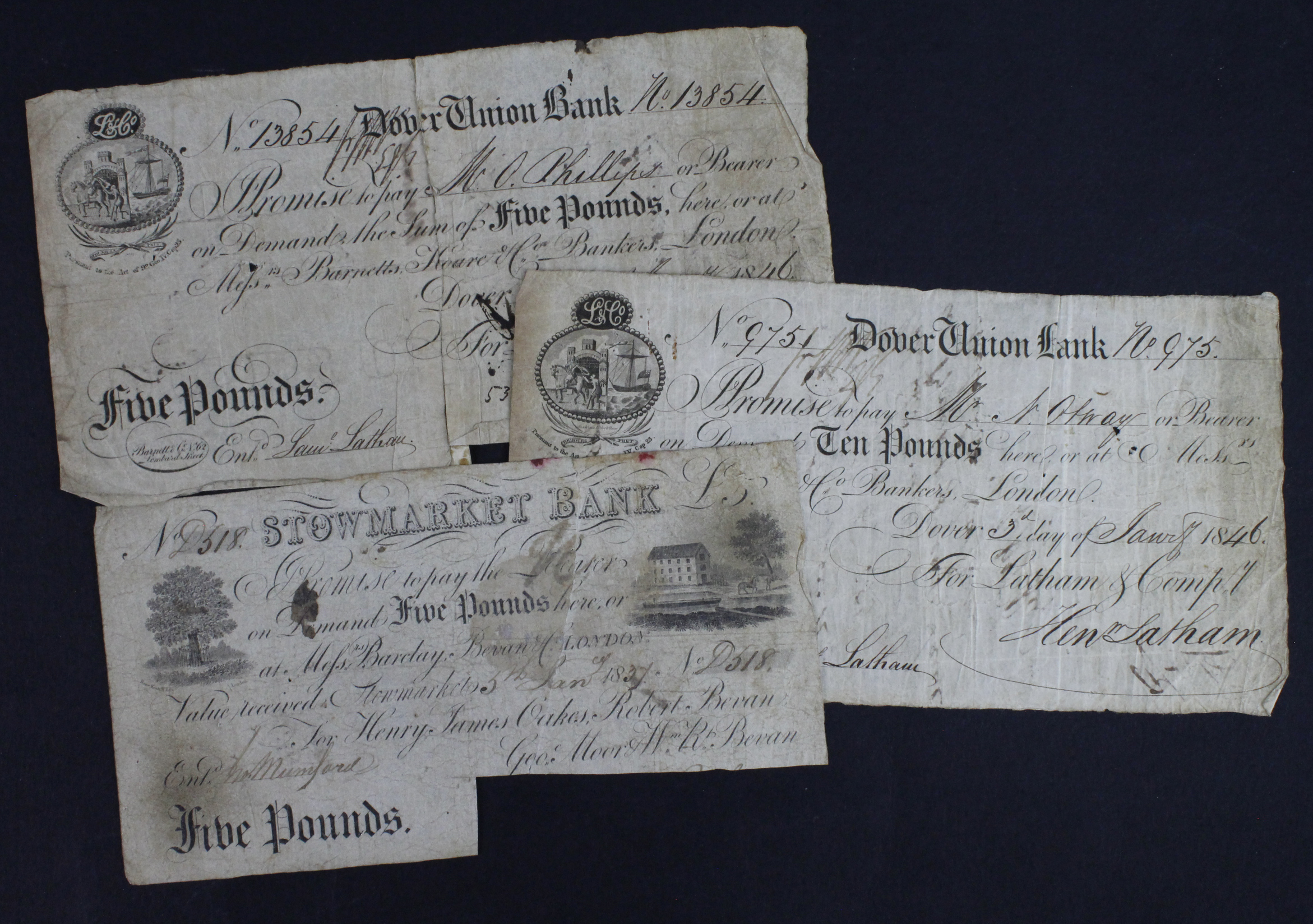 Provincial Notes (3), Dover Union Bank 5 Pounds and 10 Pounds dated 1846, serial No. 13854 & 975 for