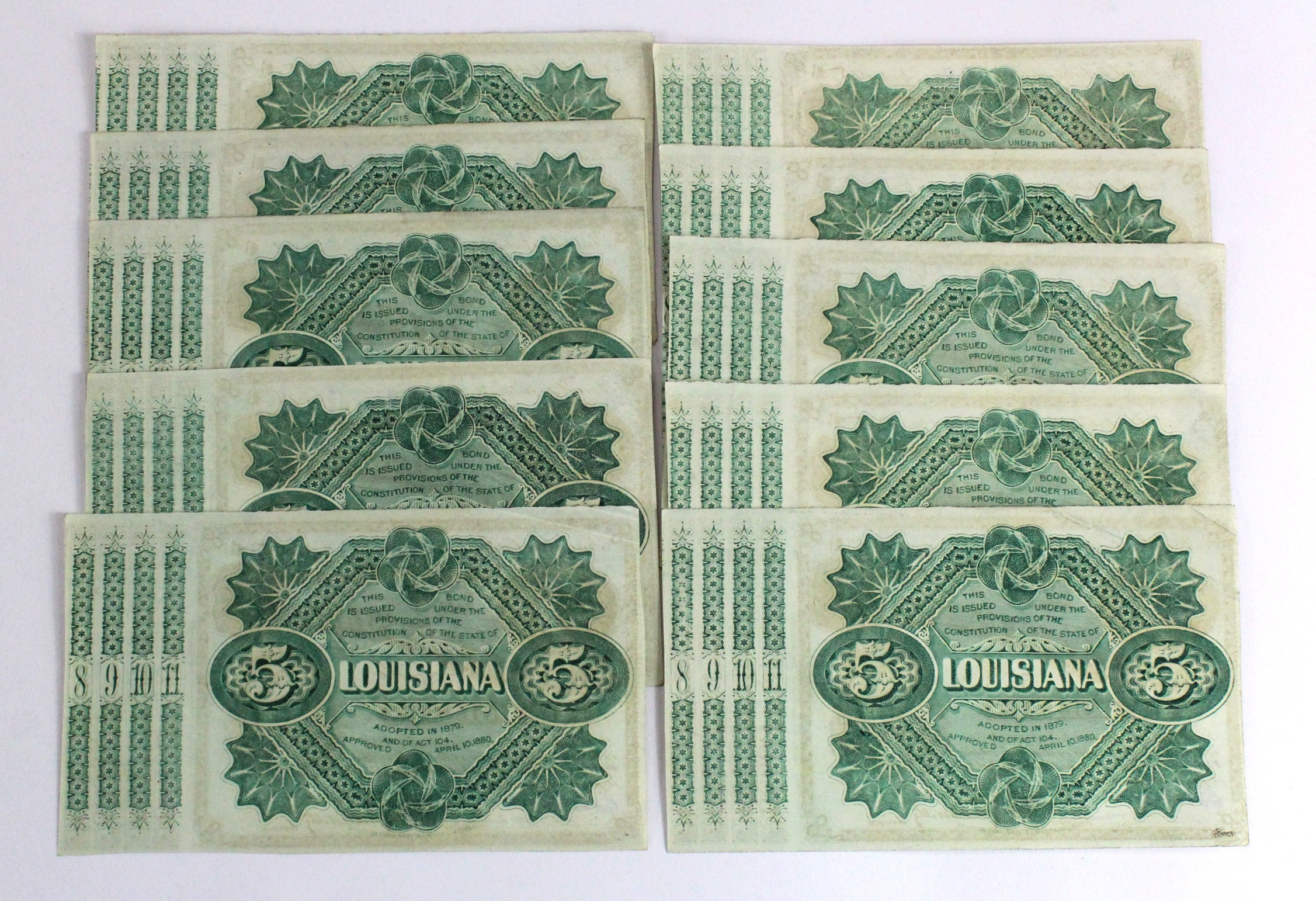 USA (10), State of Louisiana 5 Dollars 'Baby Bonds' dated 1875, in consecutively numbered groups, - Image 2 of 2