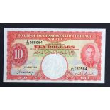 Malaya 10 Dollars dated 1st July 1941, portrait King George VI at right, serial E/34 080964 (TBB