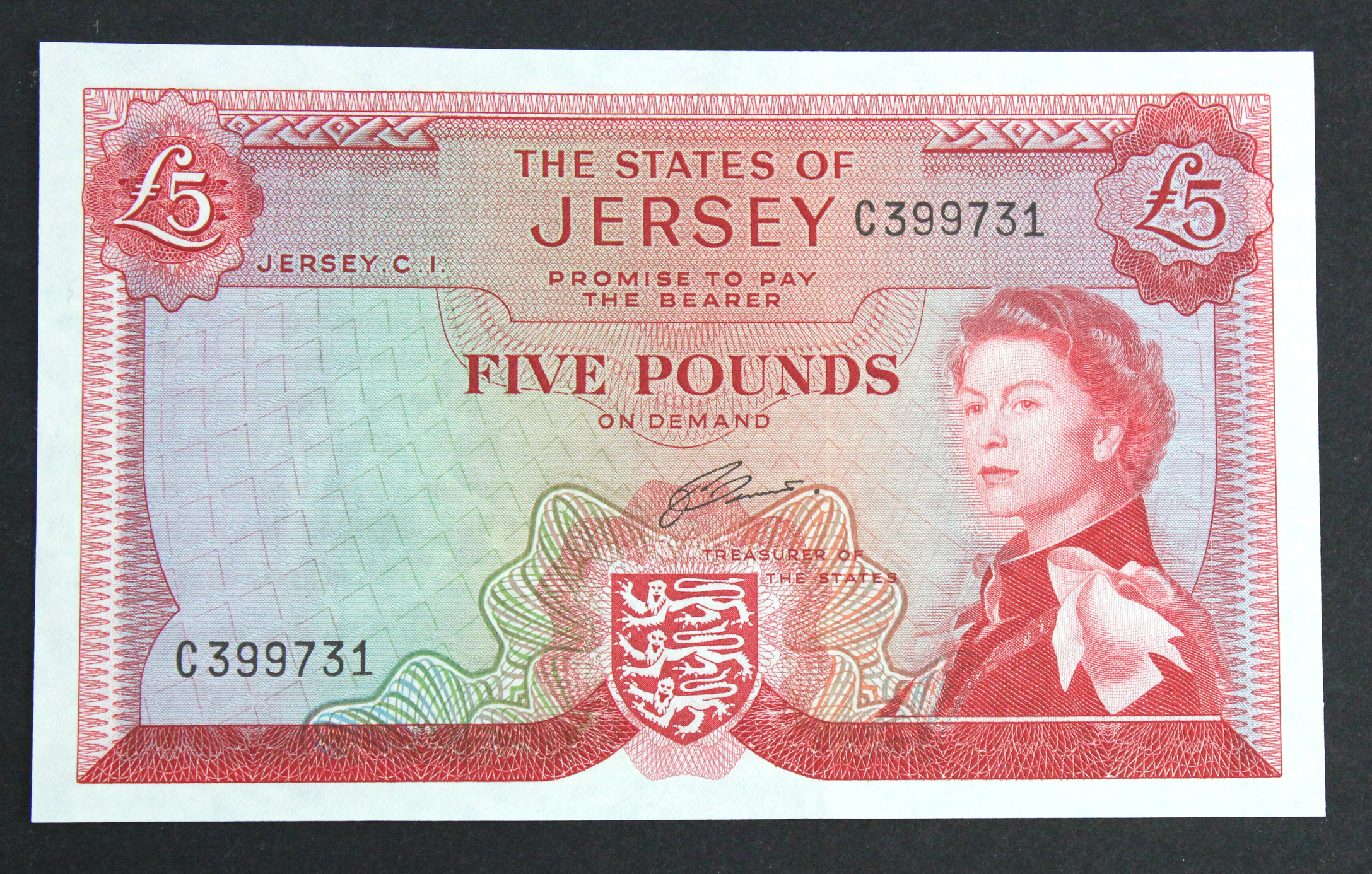 Jersey 5 Pounds issued 1963 signed J. Clennett, serial C399731 (TBB B109b, Pick9b) Uncirculated